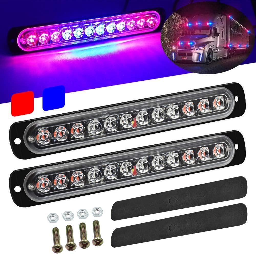2pcs Universal Ultra Slim Emergency Hazard Strobe Lights 12-LEDs for Truck Car Motorcycle Caravan Trailer Camper Van,12V-24V,Amber//Red.