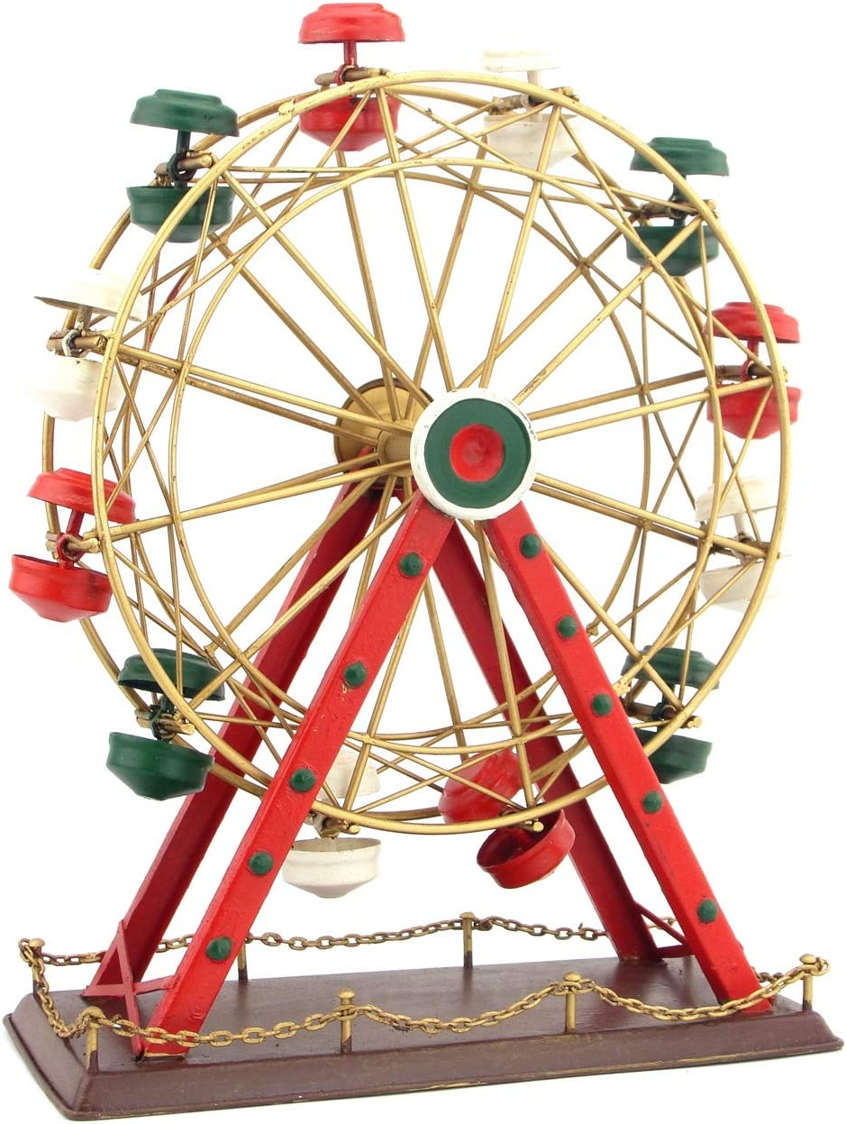ZANKE Vintage Ironwork Makes Old Artifacts Displays Models Ferris Wheel Decoration Retro Creative Birthday Gift red
