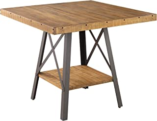 Joey Square Gathering Height Dining Table in Gingersnap with Rustic Plank Top, Metal Base, And Open Shelf, by Artum Hill
