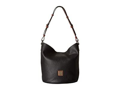 Dooney & Bourke Pebble Thea Feedbag (Black/Tan Trim) Handbags