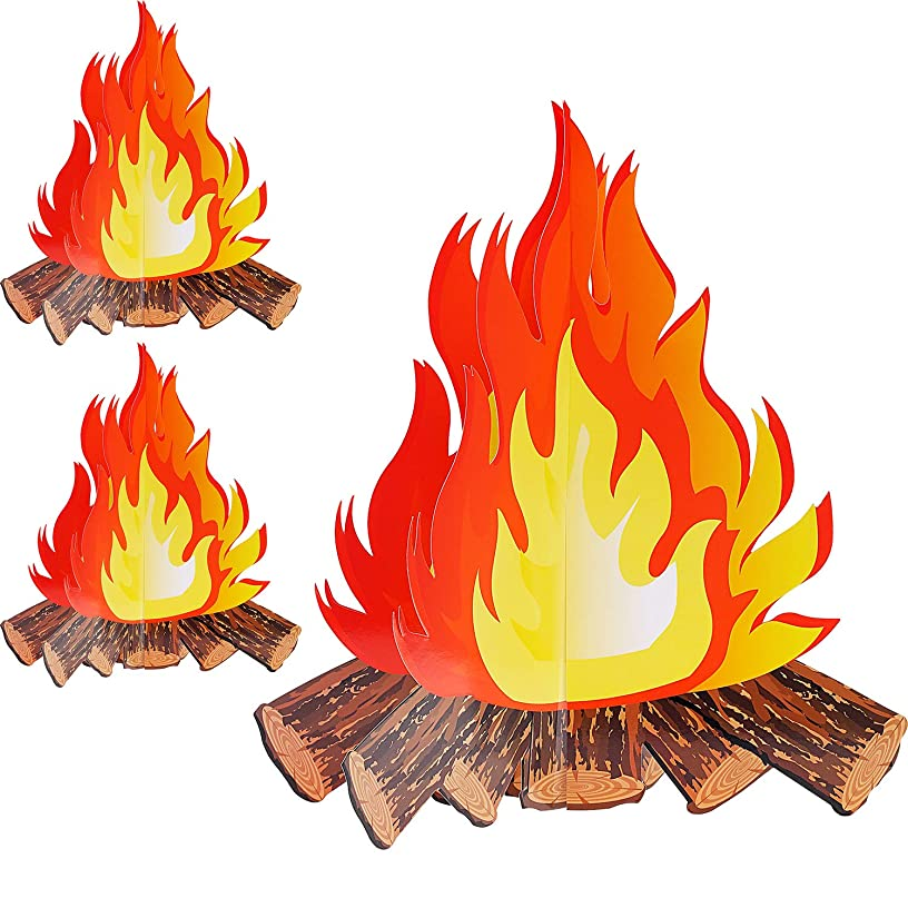 12 Inch Tall Artificial Fire Fake Flame Paper 3D Decorative Cardboard Campfire Centerpiece Flame Torch for Campfire Party Decorations (3 Set)