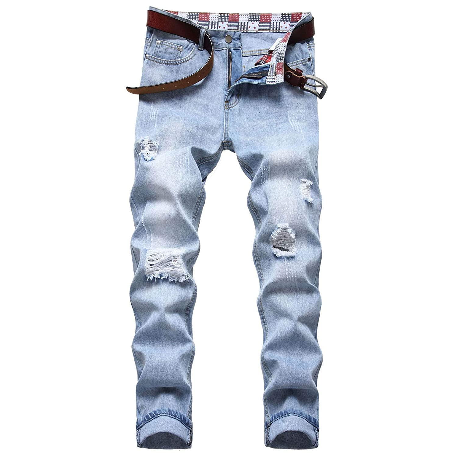 Men's Ripped Jeans Fashion Max 88% 40% OFF Cheap Sale OFF Regular Denim Destroyed Pa Distressed