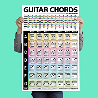 """Best Popular Guitar Chords Poster 24""""x36"""" • A Perfect Guitar Reference Poster for Anyone Learning or Teaching The Guitar • Best Music Stuff Reviews"""