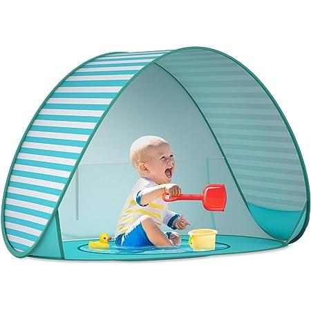 SAEYON Tienda Playa Bebe, Pop up Tienda de Bebé con Mini Piscina para Infantil Carpa, Protección Solar Anti UV 50+ Refugio Playa del Bebé, Piscina Separable Beach Carpa para Niños, Rayas Verdes