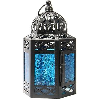 Tea Light Candle Holder Vintage Style Hanging Lantern Eastern Style Lamp Blue Moroccan Lantern Decorative Standing Lamp M/&W