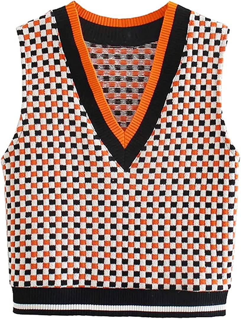 Women Jacquard Check Cropped Knitted Vest Sweater Vintage V Neck Sleeveless Waistcoat Chic Tops