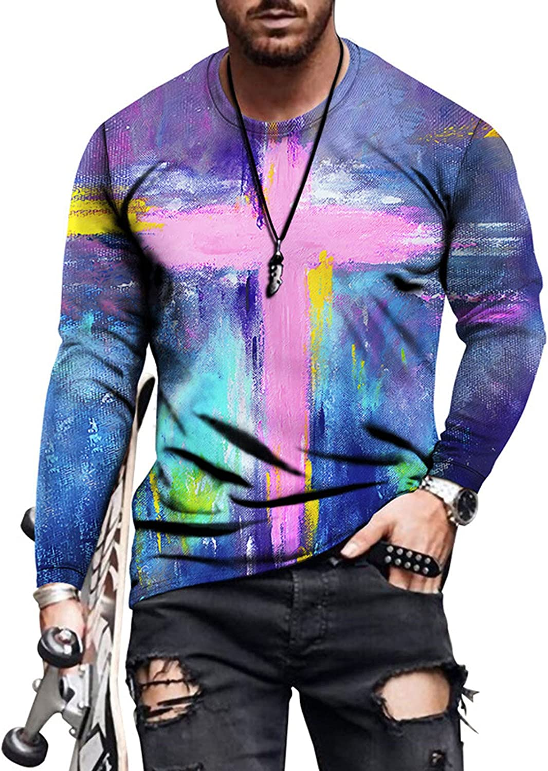 WOCACHI Long Sleeve T-shirts for Mens, Fall Vintage Oil Painting Faith Jesus Cross Print Athletic Workout Tee Tops