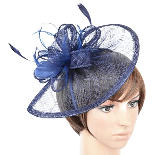 Womens Formal Party Fascinator Hat with Headband for Cocktail Navy Blue f1094417914