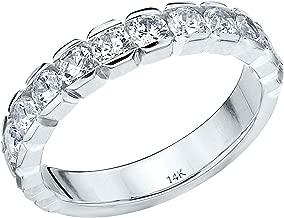 1.0 CTTW Genuine Round Diamond Ring in 14K Gold, 1ct Diamond Wedding Anniversary Ring