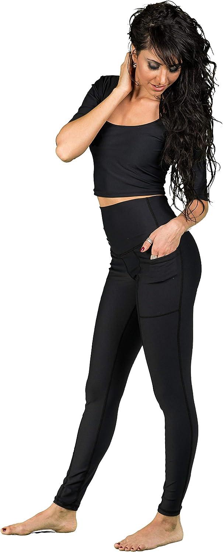 Hot Dame Women's Solid Black Side Pocket, Canadian Made Petra Leggings