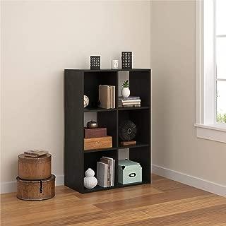REALROOMS Tally 6 Cube Bookcase, Black Oak