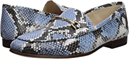 Cornflower Blue Multi Exotic Snake Print Leather