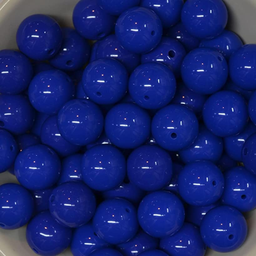 20mm Bulk Package 50 Royal Blue Solid Acrylic Chunky Bubblegum Beads Loose Gumball Beads Lot qmqgdjlucy