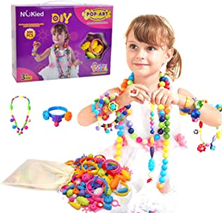 Happytime Snap Pop Beads Girls Toy 300 Pieces DIY Jewelry Kit Fashion Fun for Necklace Ring Bracelet Art Crafts Toys for 3, 4, 5, 6, 7 ,8 Year Old Kids Girls