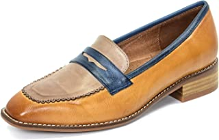 Women's Leather Penny Loafer Casual Flat Shoes for Women Ladies Girls