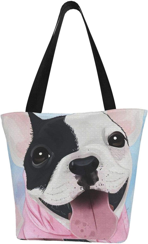 Cute Pink Happy Boston Bulldog Dog Themed Printed Women Canvas Handbag Zipper Shoulder Bag Work Booksbag Tote Purse Leisure Hobo Bag For Shopping