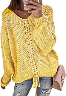 Womens Casual Knit Sweater Long Sleeve Chunky Pullover Jumper Ribbed Casual Jumper Sweater
