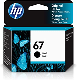 HP 67 | Ink Cartridge | Black | Works with HP ENVY 6000 Series, HP ENVY Pro 6400 Series, HP DeskJet 1255, 2700 Series, Des...