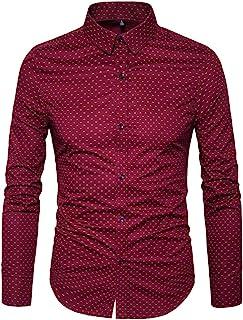 MUSE FATH Men`s Printed Cotton Casual Long Sleeve Regular Fit Dress Shirt