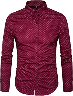 Men's Printed Cotton Casual Long Sleeve Regular Fit Dress Shirt