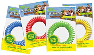 Superband Premium Insect Repellent Bracelet: Assorted Colors - Red, Blue, Yellow (10 Pack)