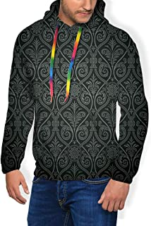 GULTMEE Men's Hoodies Sweatershirt, Antique Baroque Pattern with Mild Ombre Shade Gothic Victorian Style,5 Size