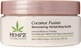 Hempz Coconut Fusion Herbal Shimmering Body Souffle, 8 oz. - Moisturizing Shea Butter Lotion for Instant Hydration, Skin C...