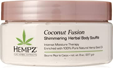 product image for Hempz Coconut Fusion Herbal Shimmering Body Souffle, 8 oz. - Moisturizing Shea Butter Lotion for Instant Hydration, Skin Care, Scented Beauty Products for Women and Men - Whipped Hemp Body Cream