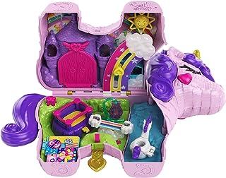 Polly Pocket coffret Licorne en Fête avec mini-figurines Polly et Lila, plusieurs zones de jeu, 25 surprises et accessoire...
