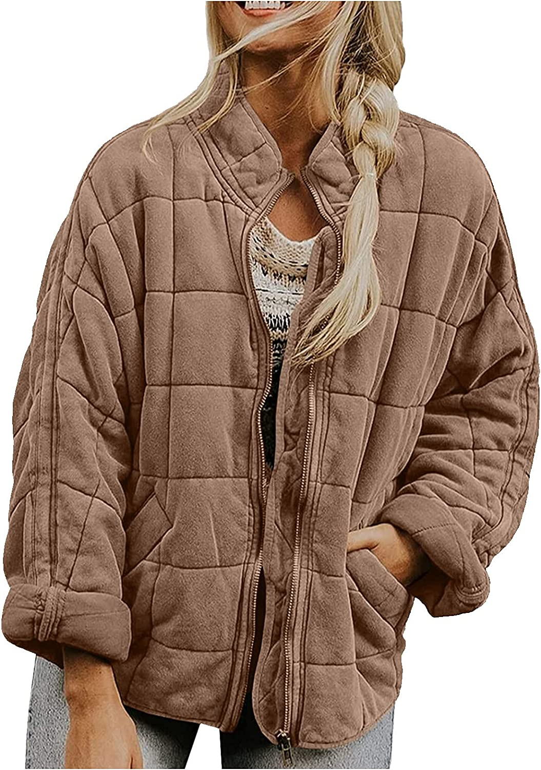 ODJOY-FAN Womens Dolman Lightweight Quilted Jackets Zip Up Long Sleeve Stand Neck Warm Winter Outwears Solid Color Coat