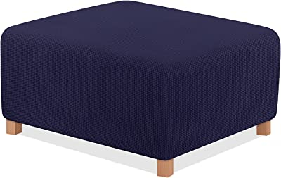 TAOCOCO Ottoman Cover Rectangle Storage Ottoman Slipcover Stretch Foot Rest Stool Covers Furniture Protectors Spandex Jacquard Fabric with with Elastic Bottom Navy