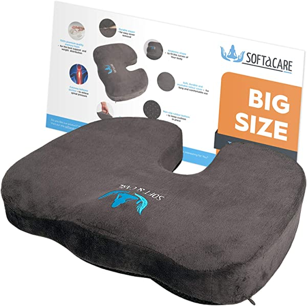 SOFTaCARE Best Seat Cushion Big Cushion Seat Office Chair Cushion 18 X16 X 3 1 2 Chair Pillow Memory Foam Ideal Car Seat Cushion Coccyx Cushion Relieve Your Pain Size Has The Meaning