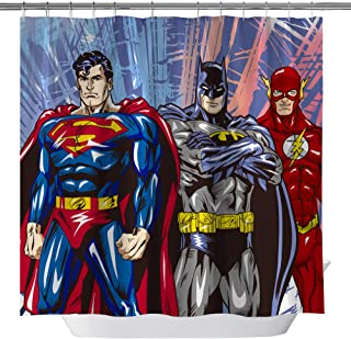 GOODCARE Superman Batman Flash Classic Shower Curtain for Bathroom,Marvel Heroes Polyester Fabric Shower Curtains,Shower Curtain Set Including Hooks, 71x71inch (3744H)