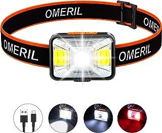 OMERIL Linterna Frontal LED USB Recargable, Linterna Cabeza