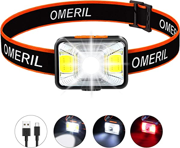 OMERIL Rechargeable Headlamp 2 5H Quick Charge LED Hiking Headlamp Flashlight With 200 Lumen 5 Modes White Red Light IPX5 Waterproof Camping Headlamp For Running Cycling Fishing Kids And Adults