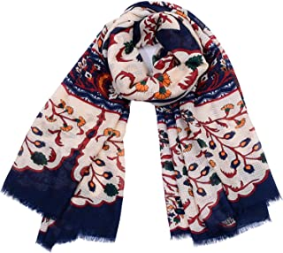 Scarves Large Cotton and Linen Retro Geometric Print Fashion Shawl Ethnic Style Four Seasons Multifunctional Anti-Cold air-Conditioning Measures Sunscreen for Women` TuanTuan (Color : Beige)