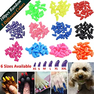 JOYJULY 100pcs Dog Nail Caps Soft Claw Covers Nail Caps for Pet Dog Pup Puppy Paws Home Kit, 5 Random, with Glue, Tips and Instruction