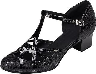 Minishion Women's T-Strap Glitter Salsa Tango Ballroom Latin Dance Shoes Wedding Pumps