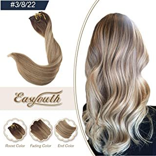 Easyouth 22in Balayage Clip Hair Extensions Color 3 Dark Brown Fading to 8 Highlights With 22 Blonde Double Weft Full Head Clip in Hair 120 Gram 7Pcs Clip on Extensions Real Human Hair Extensions