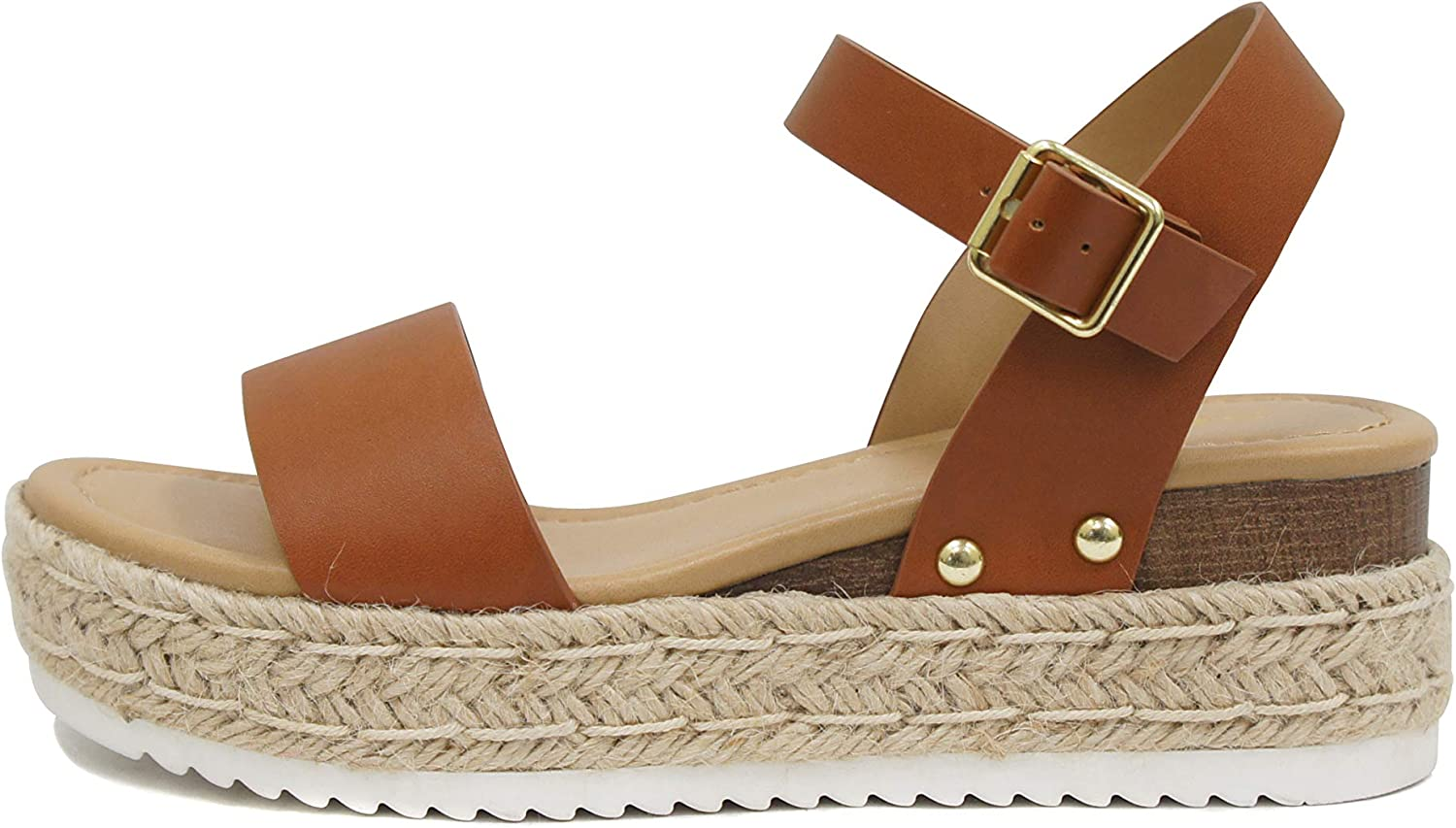 Soda Clip by TrendyFashion ~ Open Toe Single Band Espadrille Jute Platform Flatform Casual Fashion Sandals with Buckle Ankle Strap