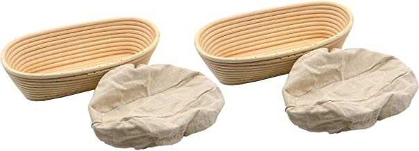 2pcs 11inch Oval Banneton Rattan Bread Proofing Basket Round Cane Baking Brotform Bread Dough Proofing Bowl Proving Rising...