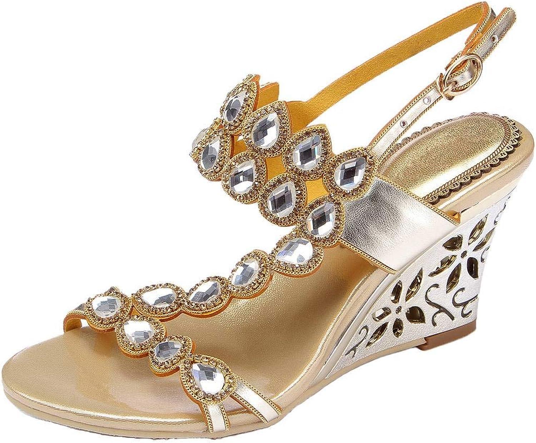 YooPrettyz Women Asymmetrical Jewel Wedding Wedge Sandal Strappy Dress Sandals