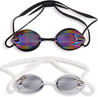 The Friendly Swede 2 Pack Swim Goggles for Adults with Interchangeable Nose Pieces and Protective Cases, Black and Clear