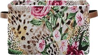 QMIN 1 lot de paniers de rangement pliables avec motif animal tigre, léopard, rose, grande boîte de rangement pour jouets,...