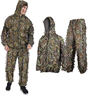 Ghillie Suit for men,Adult 3D Leafy Camouflage Ghillie Suit Youth Outdoor Woodland Hunting Clothes Camo Outfit Ghillie Sui...
