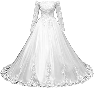 QUZI DRESS Women's Off Shoulder Long Sleeves Wedding Gowns by Satin Decals QZ016