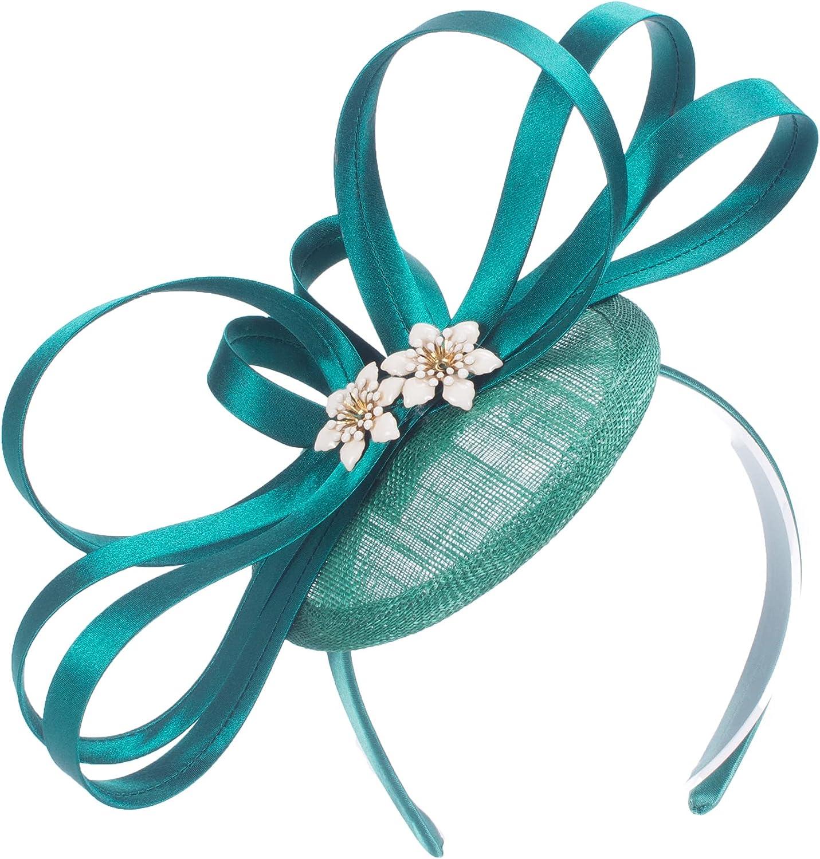 Lawliet Women Green Kentucky Derby Sinamay Fascinator Wedding Hat Headpiece T465