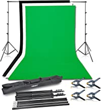 Emart Photo Video Studio Background Backdrop Stand Kit, 8.5x10ft Photography Support System with 3 Muslin Backdrops 100% Cotton (Black White Green)