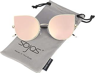 SOJOS Cateye Damen Sonnebrille Mirrored Ultra Thin Ultra Light Metal Frame Women Sunglasses SJ1022
