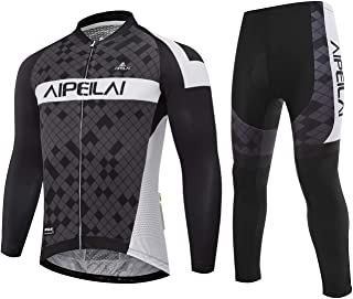 Aipeilai Men's Cycling Jersey Suit Full Sleeve Bicycle Jersey Clothing Set + 3D Padded Breathable Pant Sportswear